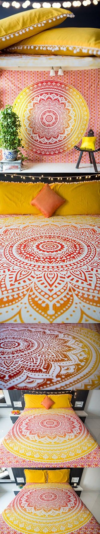 Folkulture Sunset Hue Ombre Bedspread with Pillow Covers, Indian Bohemian Tapestry Wall Hanging, Picnic Blanket or Hippie Beach Throw, Hippy Mandala Bedding for Bedroom, Yellow Queen Size Boho Spread