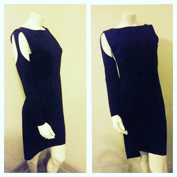 Detachable sleeve dress in indigo blue knit, made on request email meleeamelbourne@gmail.com