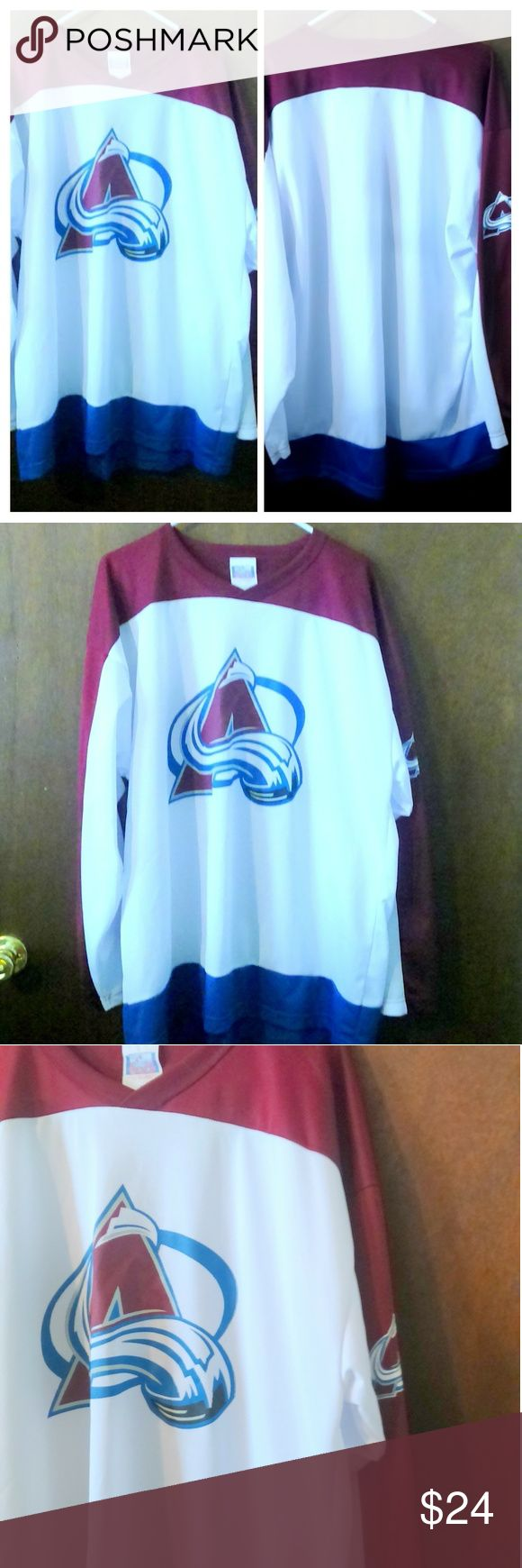 "Off the Bench Colorado Avalanche NHL Hockey Jersey This men's Colorado Avalanche jersey is made by Off the Wall and is a size XL. The jersey is done in a 100% polyester. Measurements are: Chest 54"", length 33"". In good condition with no issues. Off The Bench Shirts"