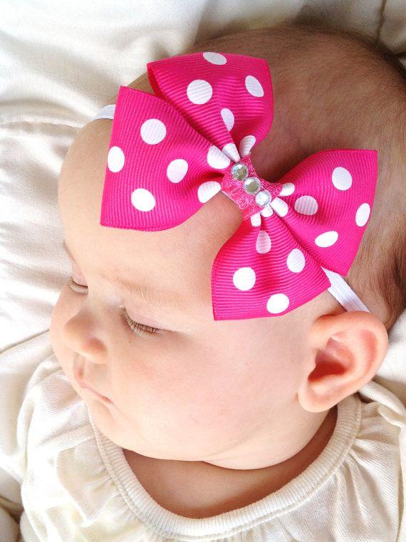 Pink and White Polka Dotted Grosgrain Ribbon Bow on Skinny Headband(Newborn Headbands, Hair Clip,Baby Headbands, Toddler,Girls)