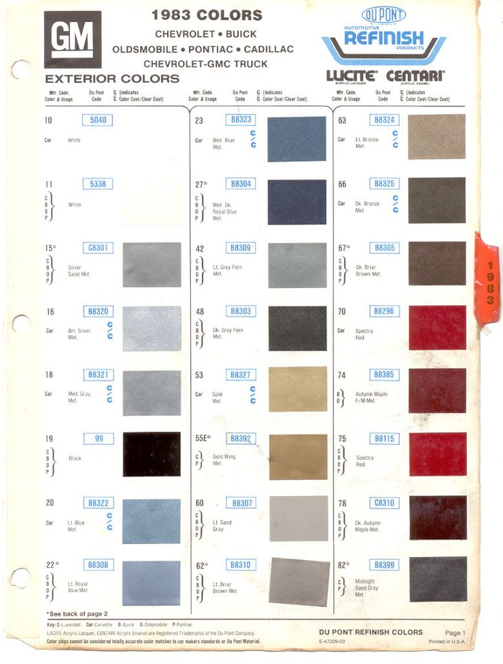 gm color chips 1983 gm models select model paint list to GM Interior Color Chart Green Metallic Car Paint Colors