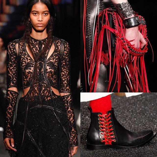 Black and red leather fringe at @AlexanderMcQueen FW17. / Фольклорные мотивы на показе #AlexanderMcQueen: плетёная кожа красная бахрома и кружево - полный обзор коллекции на Vogue.ru!  via VOGUE RUSSIA MAGAZINE OFFICIAL INSTAGRAM - Fashion Campaigns  Haute Couture  Advertising  Editorial Photography  Magazine Cover Designs  Supermodels  Runway Models
