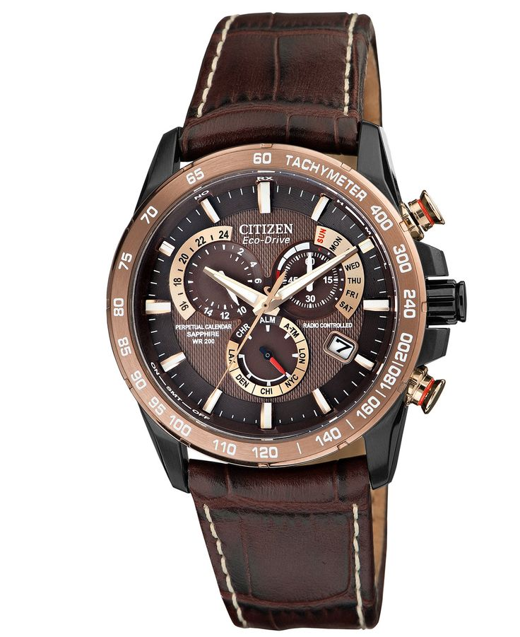 citizen s eco drive perpetual chrono a t brown leather