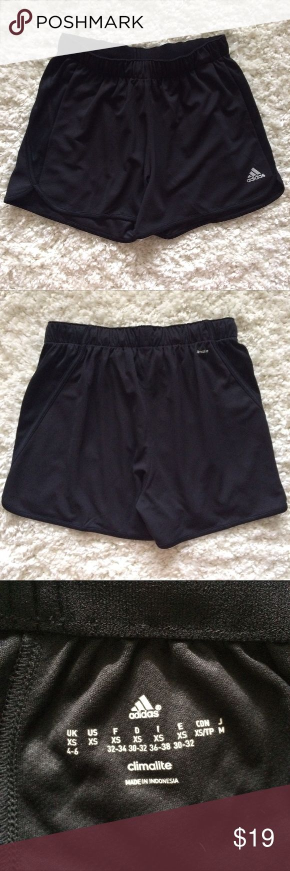 NWOT Black Adidas Climalite Shorts, size XS Black Adidas Climalite woven shorts.  Size XS.  NWOT! Purchased but never worn.   Make me a (reasonable) offer! 10% off 3+ item bundles!  No trades please! Will only conduct business on Poshmark. 😊 adidas Shorts