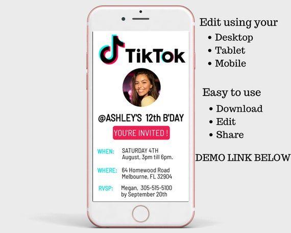 Tiktok Birthday Invitation Tik Tok Digital Invite Digital Birthday Invitation Tik Tok Invite Mobile Invitations Electronic Invitations Birthday Invitations