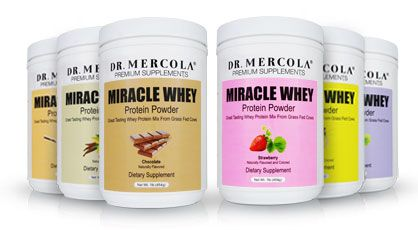 After researching and getting some much needed advice, I decided to order Dr. Mercola's Miracle Whey protein powder. It is made from grass fed cows, all-natural and has no added chemicals! Check it out (I dare you!), it comes in 6 great flavors.
