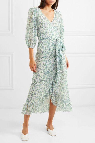 455fb2a05a GANNI - Tilden floral-print mesh wrap dress | Ganni | Wrap dress ...