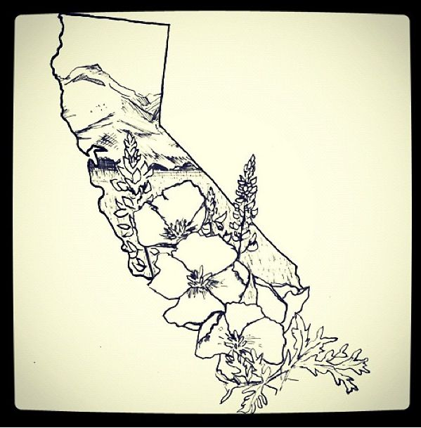 Neat california tattoo outline tattoos pinterest for Embossed tattoo designs