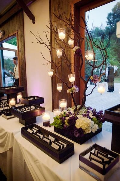 Reception decor ideas.  Love the branches.  Add lights and hang crystals from them...
