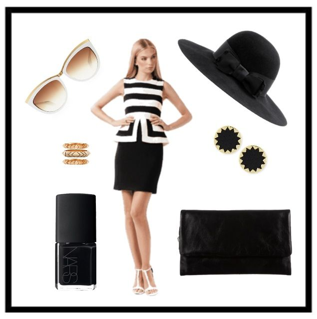 Monochrome outfit for the races Elliatt's The Empire Dress Status Anxiety Audrey Wallet House of Harlow Sunburst Earrings & Aztec Stack Rings
