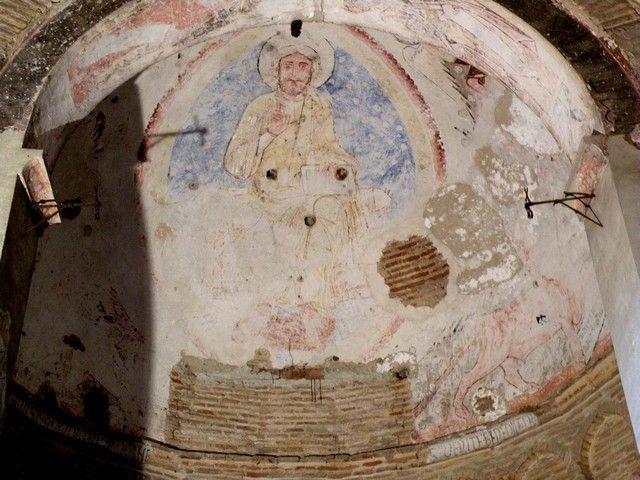 Mezquita del Cristo de la Luz. Pinturas románicas del ábside