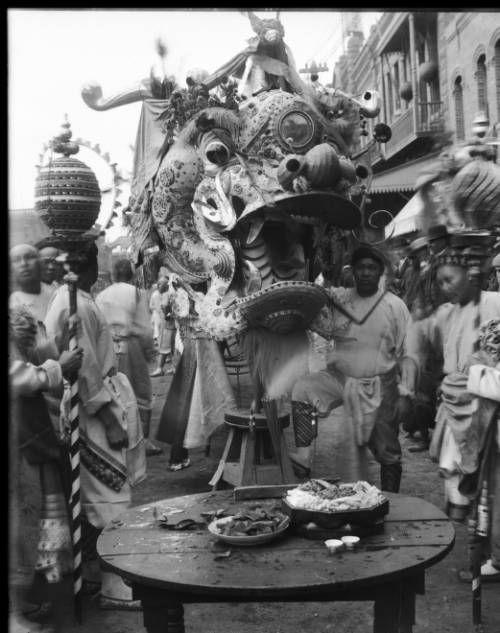 Chinese dragon feeding ceremony, ca.1902-1904. http://digitallibrary.usc.edu/cdm/ref/collection/p15799coll65/id/12454