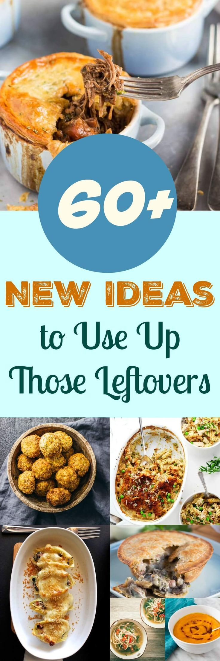 Hate Food Waste? 60+ of the Latest Ideas for Leftover Food. Never know what to do with all your leftover food?  With over 60 of the latest ideas for the most common leftovers, such as leftover chicken, leftover ham and leftover mashed potatoes, you need never throw out food again.