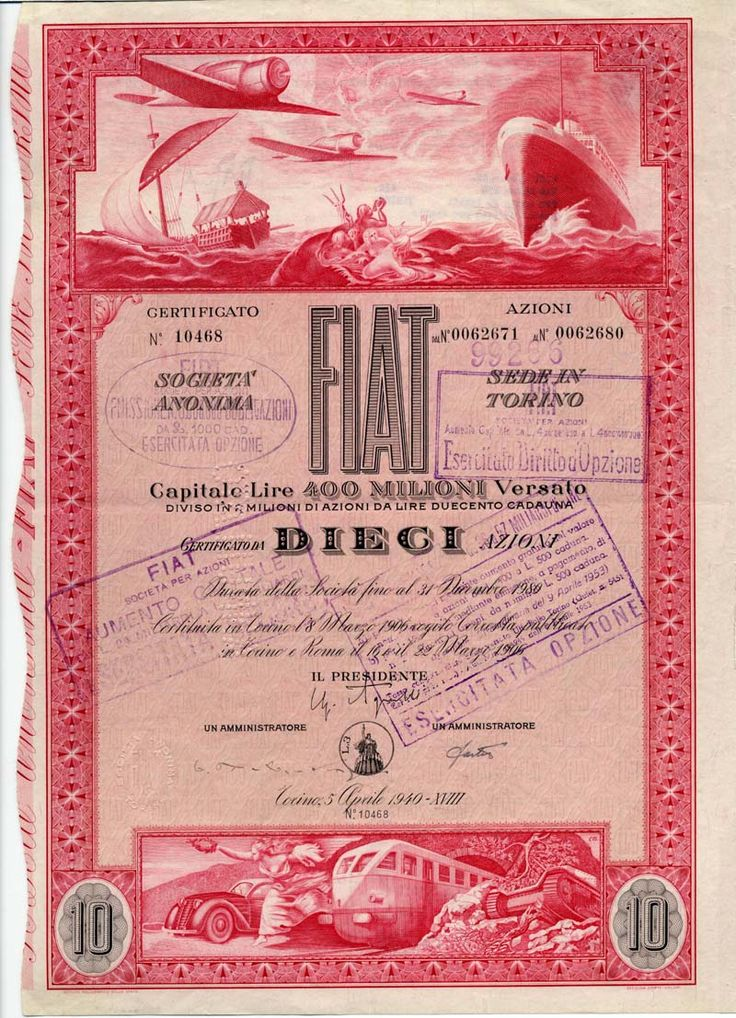 FIAT SOCIETA PER AZIONI SEDE IN TORINO Zertifikat über 10 Aktien zu je Lire 500; Turin, 5 April. 1940
