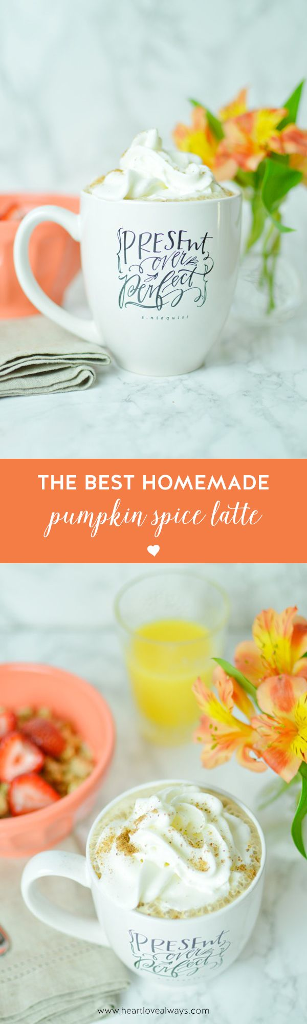 The best homemade pumpkin spice latte--ever! Get the (easy) recipe on heartlovealways.com! Just need to figure out a vegan version!