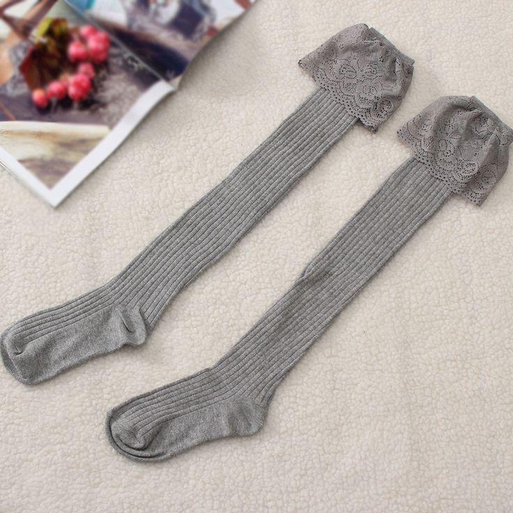 Women Lace Knitting Cotton Over Knee Thigh Stockings High Socks Pantyhose Hosiery at Banggood