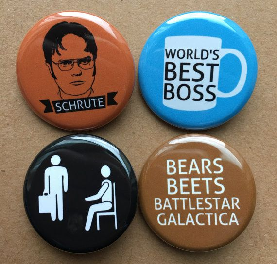 The Office TV Show Pins Buttons or Magnets by RaisingTwoJays