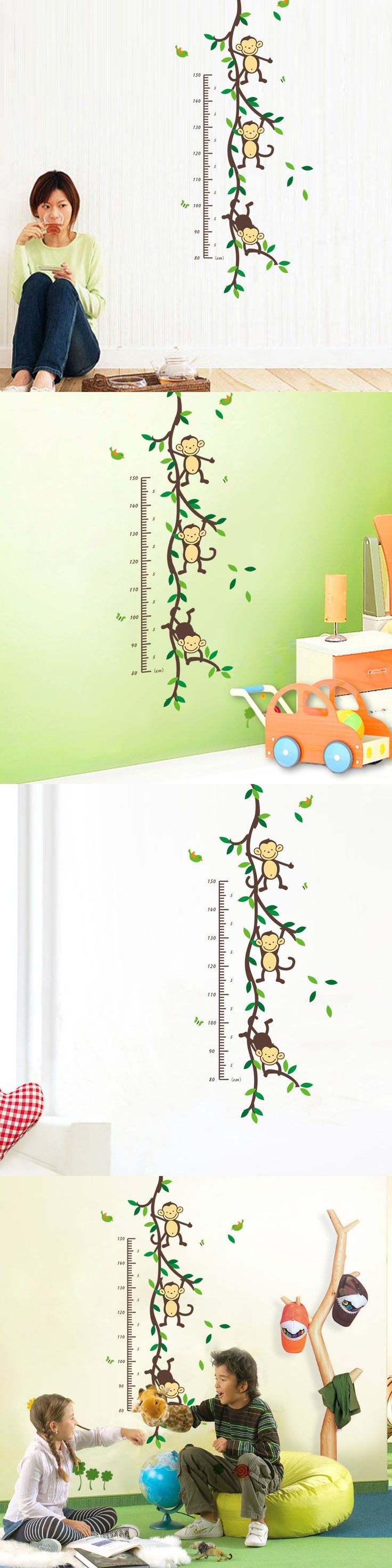 best 25 kids growth charts ideas on pinterest girls height kids growth chart wall sticker home decor cartoon cute animal monkey living room decals wall art sticker wallpaperll
