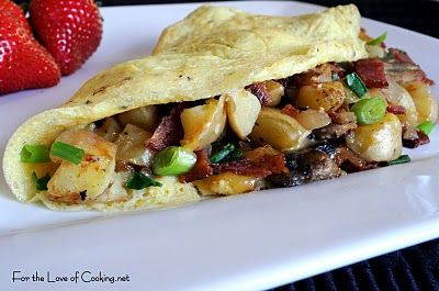 Peasant Omelette with Potatoes, Mushrooms, Bacon, and Cheddar Cheddar ...
