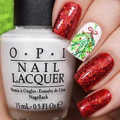 Red Glitter Nails + Mistletoe Accent Nail