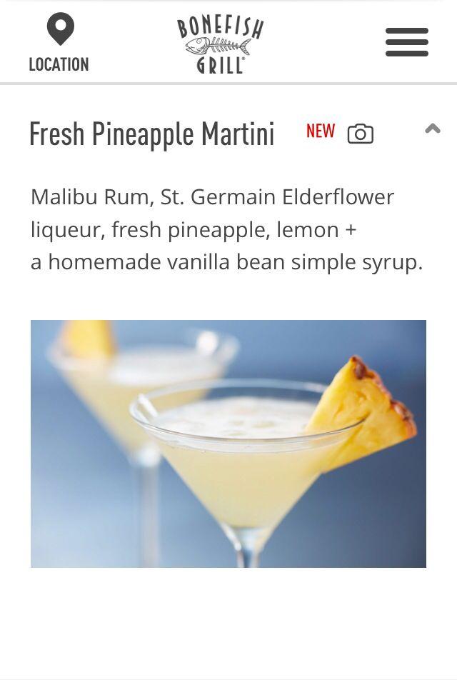 Fresh Pineapple Martini. Bonefish Grill. My new favorite drink. :-) (pineapple smoothie recipes fresh)