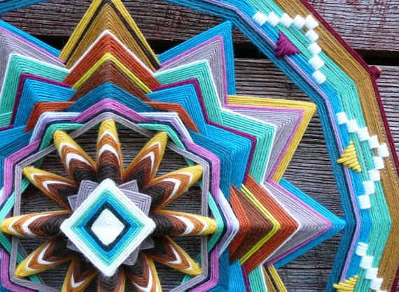 Ojo de Dios yarn mandala Finding Love 18 inch by JaysMandalas, $145.00