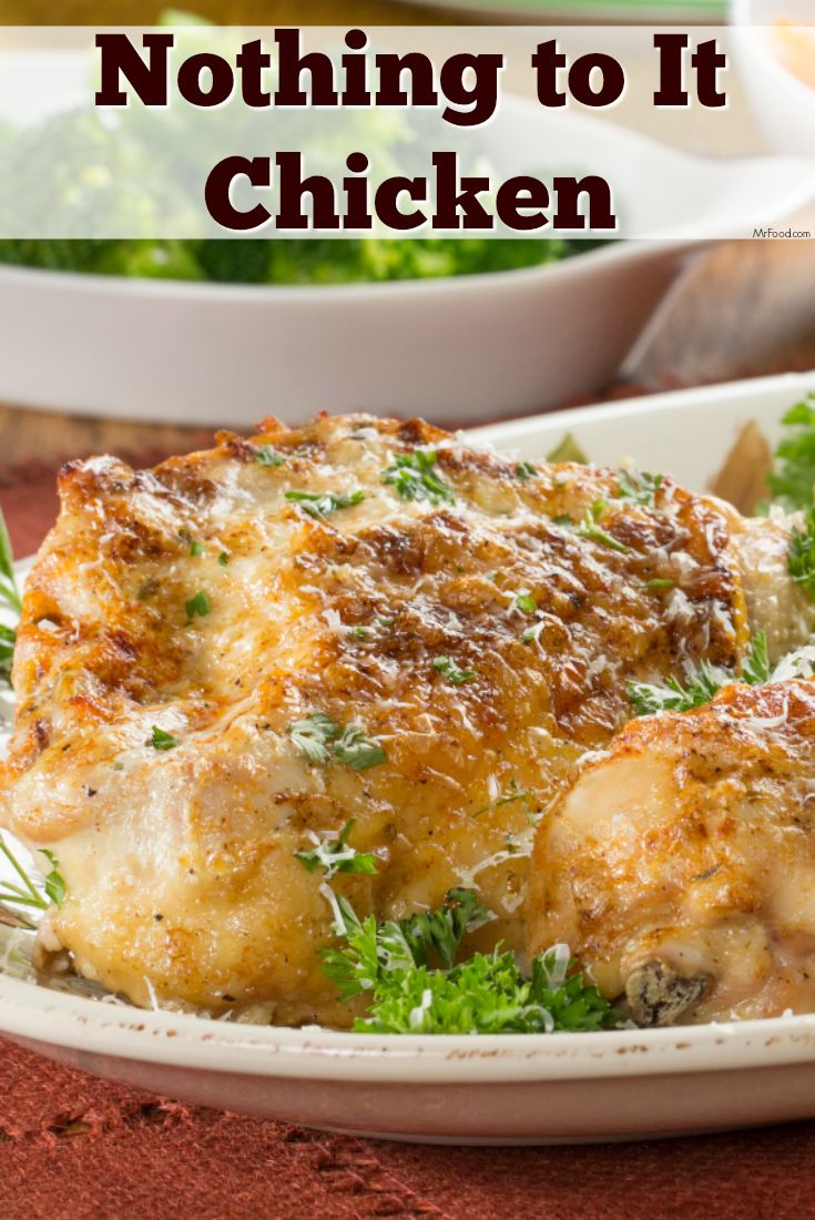 """It's easy to make this flavorful baked chicken dinner. In fact, there's """"nothing to it!"""""""