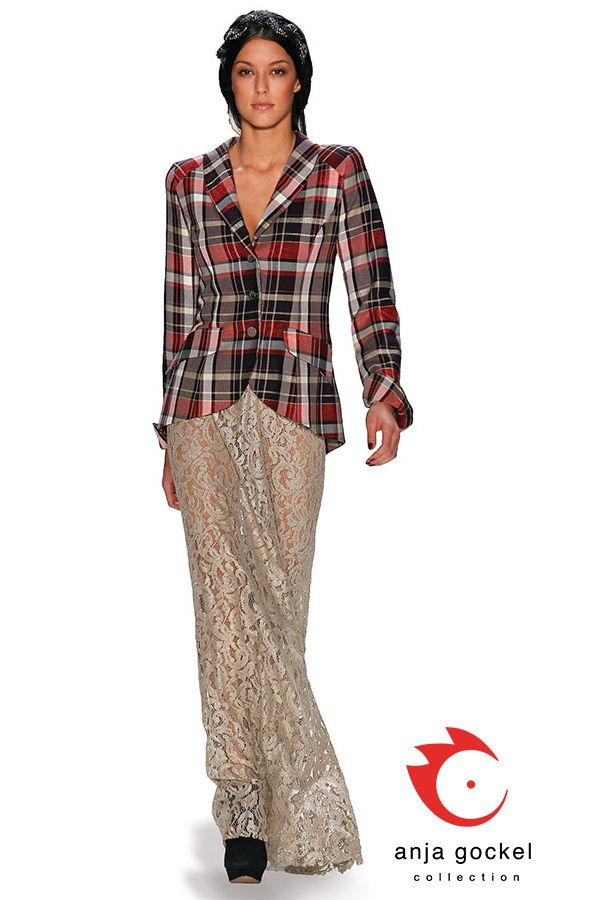 Long gold lace skirt combined with tailored wool check jacket