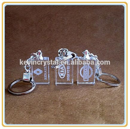 business gifts 3d laser engraving crystal glass keychain souvenirs with car brand logo