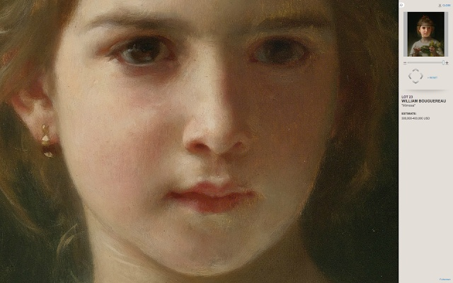 William Bouguereau,  'Mimosa' -DETAIL- 1899  oil on canvas  18⅜ X 15 in.