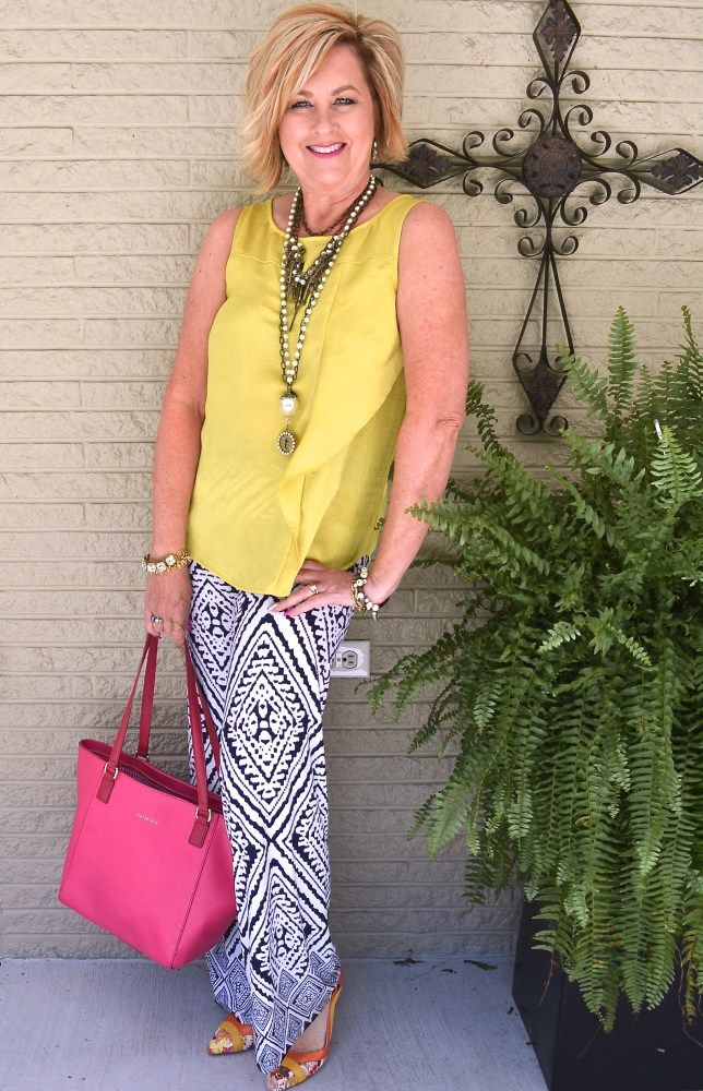 50 IS NOT OLD | STYLE PRINTED PALAZZO PANTS | Chartreuse | Navy & White | Summer Outfit | Fashion Over 40 For the Everyday Woman #palazzo #verabradley #plunderjewelry #summer
