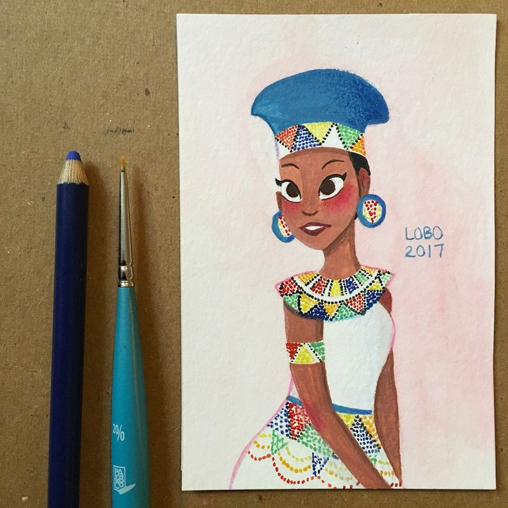 Day 22 of #doodletimewithkaroline : South Africa. Traditional South African clothing. #gouache #watercolor #painting #illustration #drawing #traditionalart #characterdesign #southafrica #southafrican #africa #african #traditionalclothes #traditionaldress #nationaldress #nationalcostume #beads #zulu #jewelry #zulubeads #fashion #africanjewelry #traditionalwear