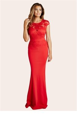 Jessica Wright Blair Red Lace Detail Maxi Dress £85.00 Seriously standout this season in our stunning red maxi dress. Features a plunge neckline with a lace overlay and a flared hem. Team with sparkly heels and a bold lip for evening luxe.   Colour: Red