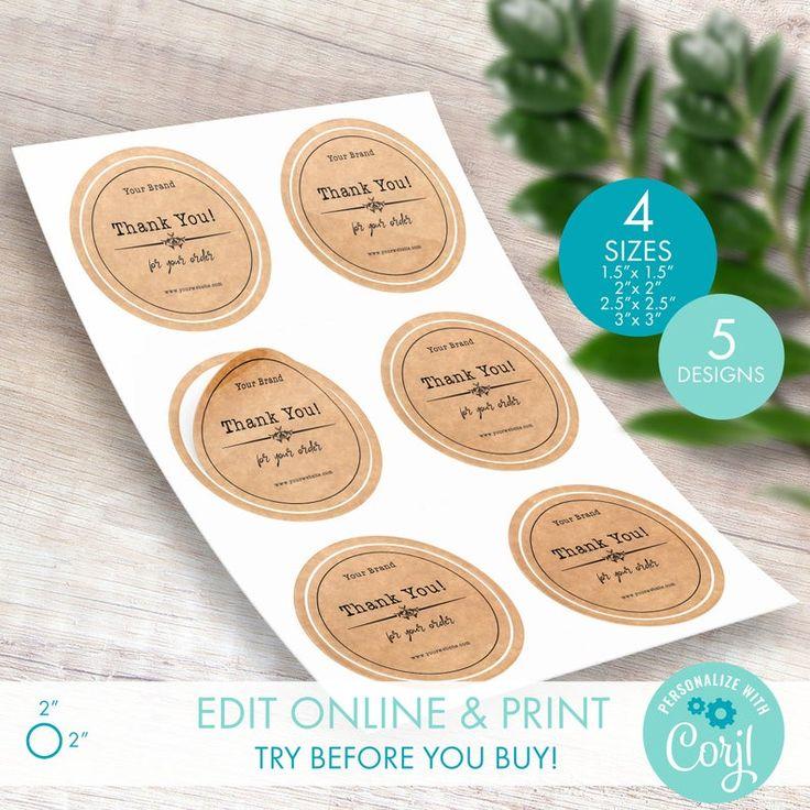 Diy printable circle square sticker logo label templates