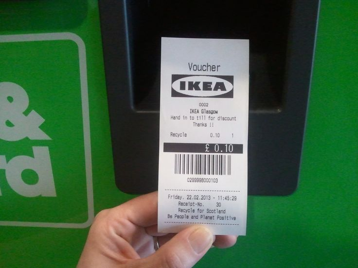IKEA Reward Recycling      Once an IKEA used drink can or plastic bottle is returned and deposited through the Reverse Vending Machine in IKEA Scotland, for each item shoppers will be offered the choice of a 10p voucher to redeem in-store or a 10p donation to one of the stores' selected charities.