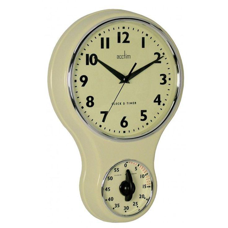 Nice Acctim Vintage Retro Cream Kitchen Wall Clock With Kitchen Timer Amazing Design