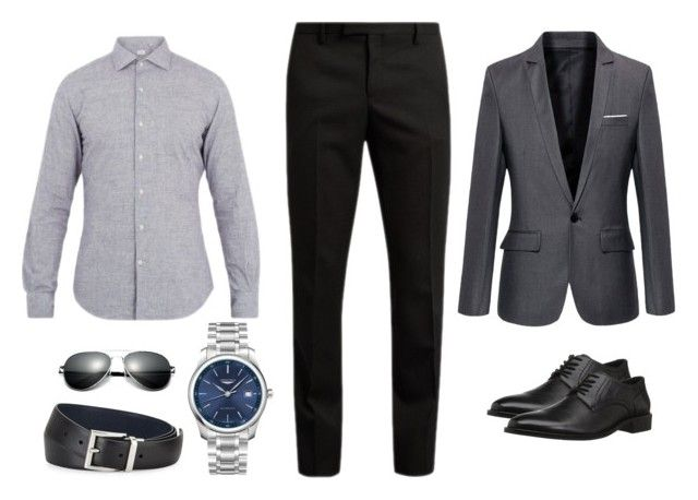 """18. Camisa Gris claro Pantalón negro"" by andreamariafernandez on Polyvore featuring Yves Saint Laurent, Glanshirt, Concord, Longines, Prada, men's fashion and menswear"