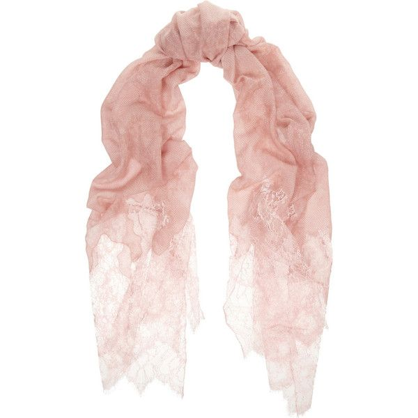 Valentino Cashmere and silk-blend scarf ($1,030) ❤ liked on Polyvore featuring accessories, scarves, pink, pink scarves, valentino scarves and pink shawl