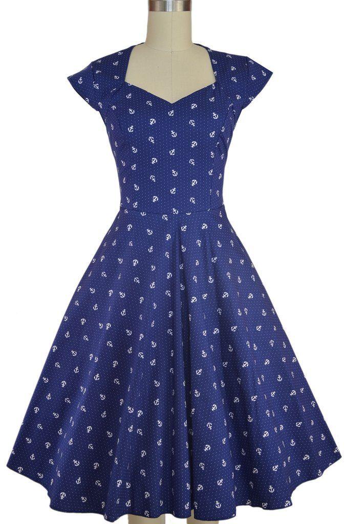 the soubrette brunette sweetheart dress - navy anchor