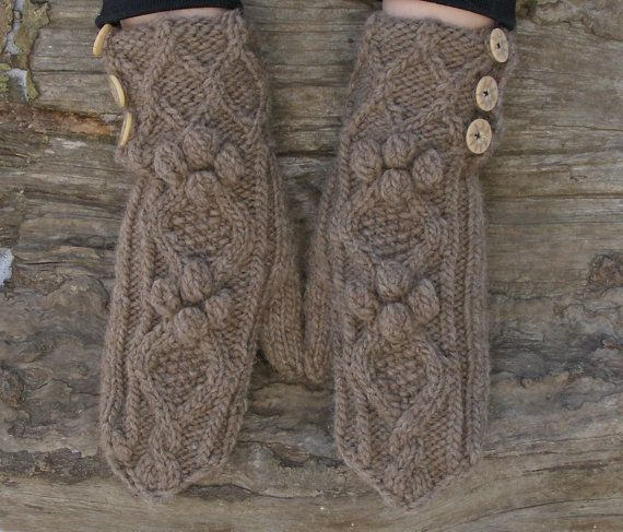 Camel wool mittens Knit brown warm winter gloves by echocraftings