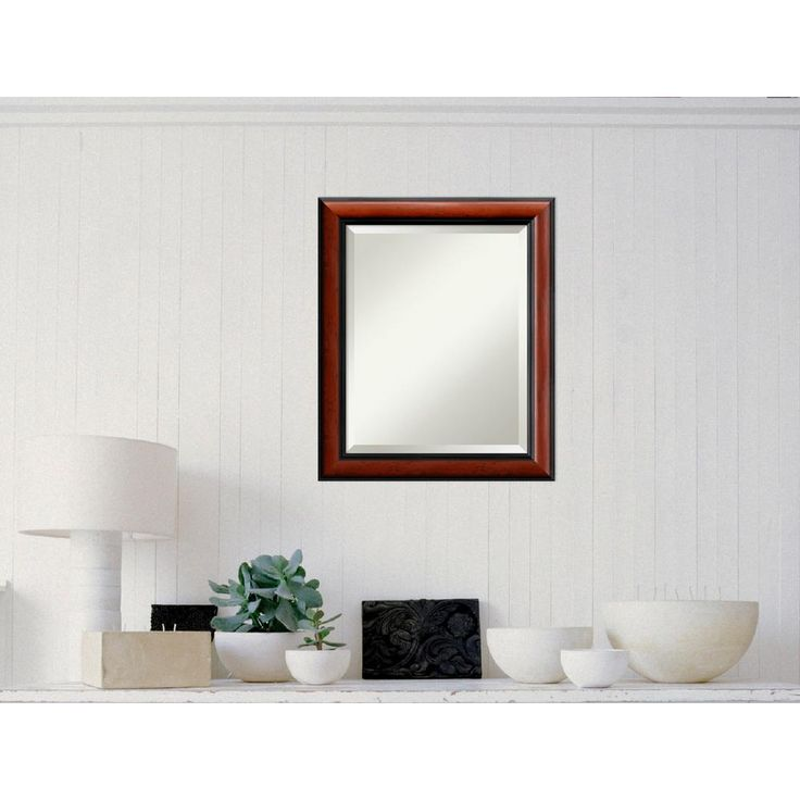 Regency Mahogany Wood 20 in. W x 24 in. H Traditional Framed Mirror