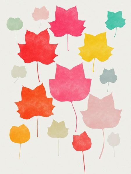 Maple Leaf_Multicolor - Art Print by Garima Dhawan/Society6