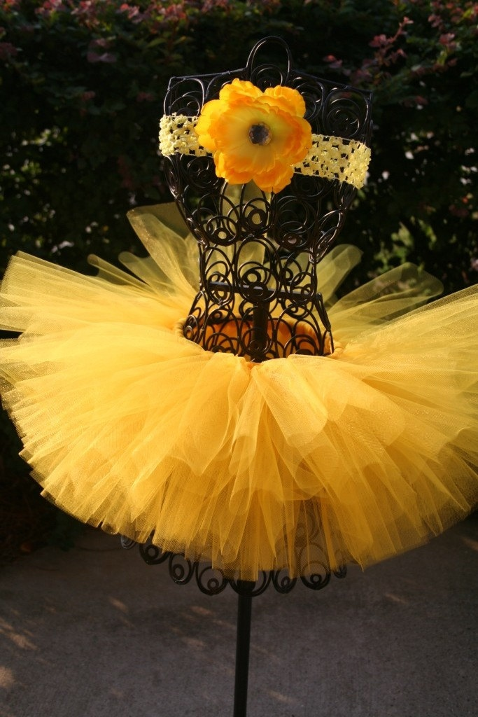 Yellow Tutu Custom Made Butter Cup Yellow With Matching Flower Headband. $25.00, via Etsy.