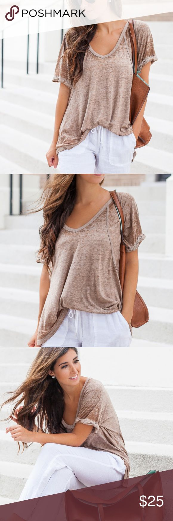 Free People 'Free Fallin' Tee in Driftwood Sz XS New twist on an old Free People fave, this tee features the same slouchy, oversized fit but it's in a so-soft burnout jersey. It's a great light brown color called 'Driftwood'. Ribbed V-Neck with rolled short sleeves. Subtle Hi-Lo hem. Purchased new from a Free People store and worn only a few times. Like new condition. Free People Tops Tees - Short Sleeve