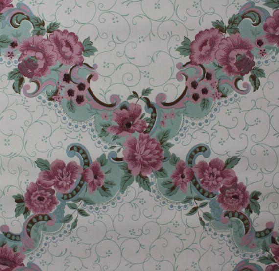 1940's Vintage Wallpaper Victorian Rose Design | Floral ...