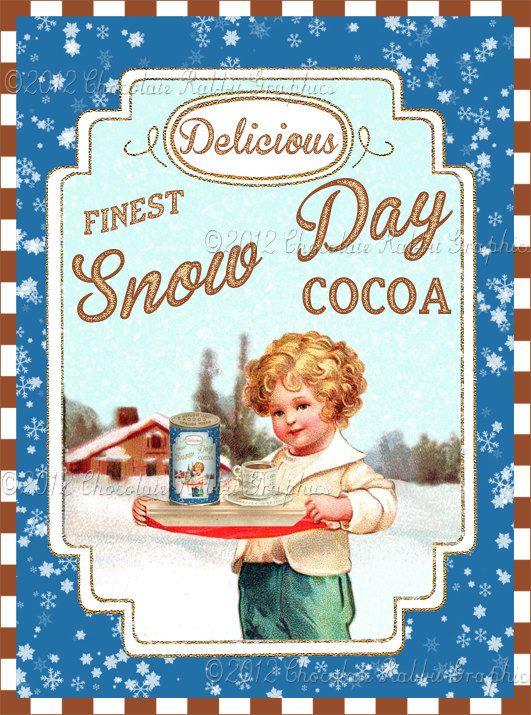 SALE Vintage Christmas Label Cocoa Tag Digital Download Printable Aged or Color Image Collage Scrapbook Sheet. $2.75, via Etsy.