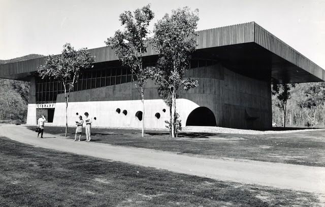 James Cook University Townsville campus library, c.1970, James Birrell Archive, Library Archives Collection. Photo Credit:  James Cook University, not to be reproduced without permission.