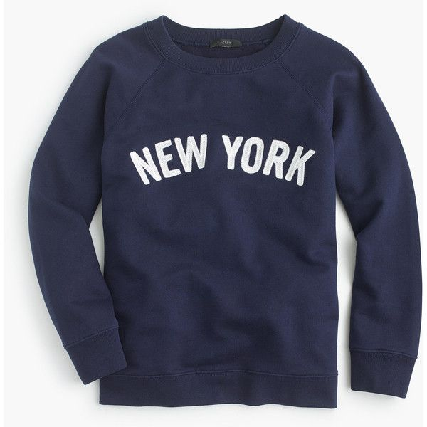 J.Crew New York Sweatshirt ($65) ❤ liked on Polyvore featuring tops, hoodies, sweatshirts, crew neck tops, crewneck sweatshirt, crew top, crew-neck sweatshirts and graphic print top