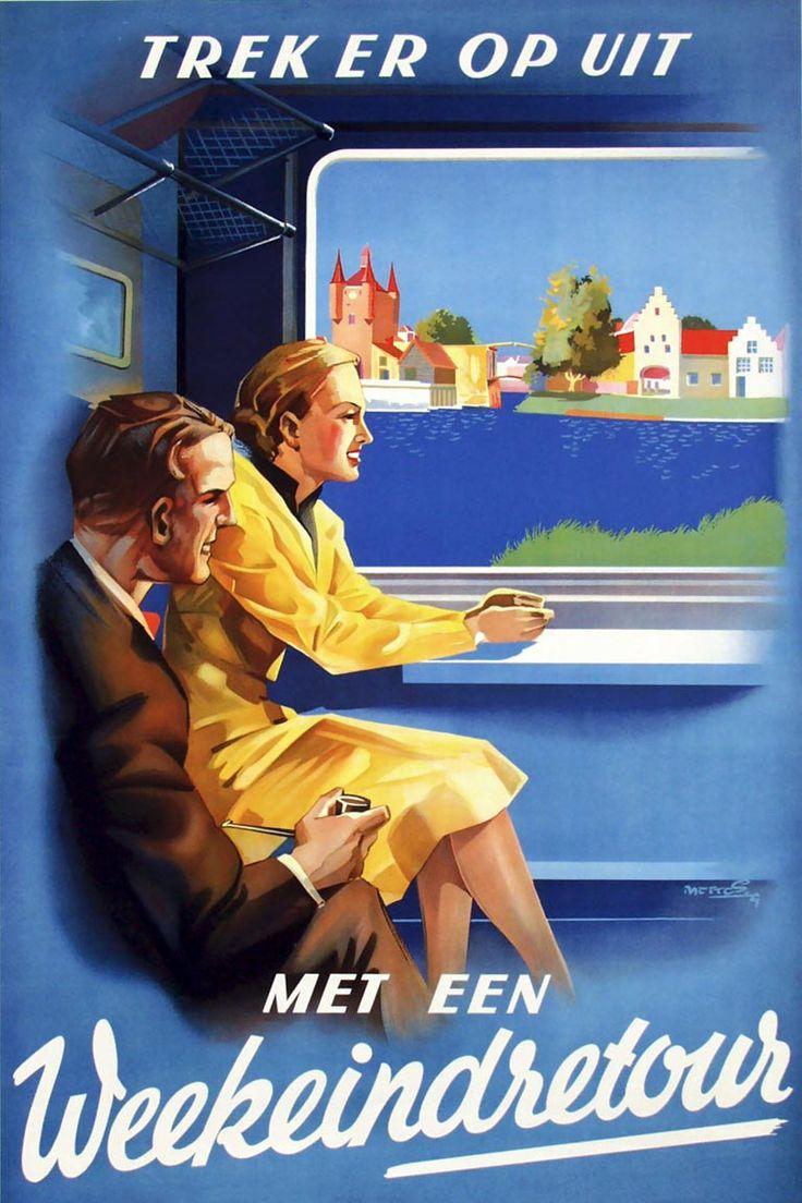Affiche weekeindretour, 1939 | Frans Mettes (coll. Arjan den Boer) Deze affiche kenmerkt zich door het vele kleurgebruik. Er was echter wat kritiek op het landschap, dat meer Belgisch dan Nederlands zou lijken.