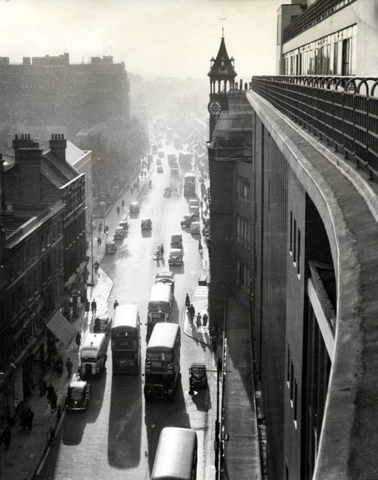 The Kings Road from the roof of Peter Jones. c.1960 By John Bignell